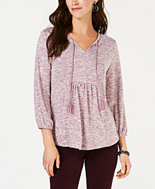 Style & Co Pleated Tassel-Tie Top, Created for Macy's