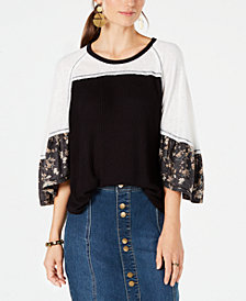 Style & Co Colorblocked Mixed-Media Top, Created for Macy's