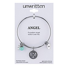 Angel Charm and Amazonite (8mm) Bangle Bracelet in Stainless Steel with Silver Plated Charms