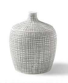 Cestino Embossed Porcelain Cotton Jar