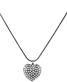 "GUESS Crystal Heart Long Pendant Necklace, 32"" + 2"" extender"
