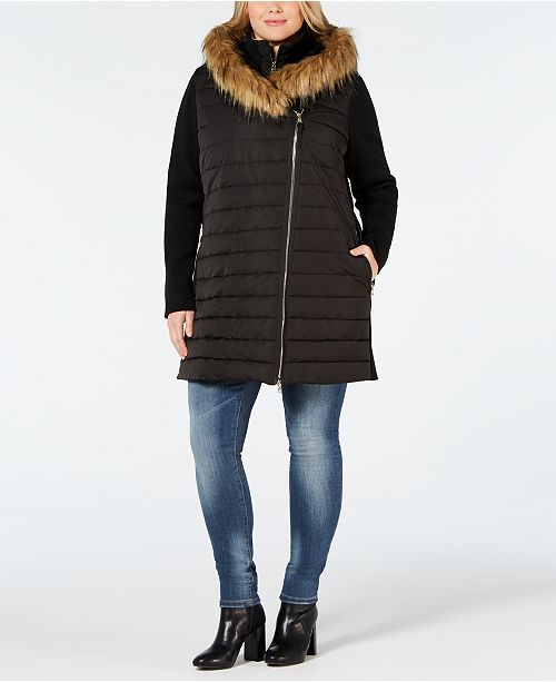 1d8b18d97aee5 ... Calvin Klein Plus Size Faux-Fur Trimmed Hooded Walker Jacket ...