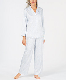 Miss Elaine Printed Brushed-Back Satin Pajama Set