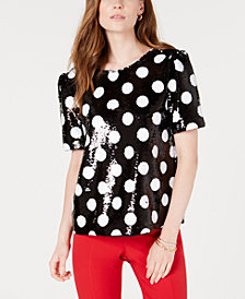 Maison Jules Sequined Polka-Dot Top, Created for Macy's