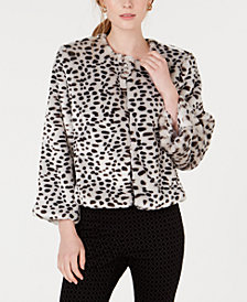 Maison Jules Leopard-Print Faux-Fur Jacket, Created for Macy's