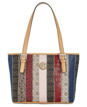 GIANI BERNINI   Giani Bernini Patchwork Stripe Tote, Created For Macy'S   Goxip