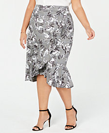 RACHEL Rachel Roy Trendy Plus Size Asymmetrical Ruffled Skirt