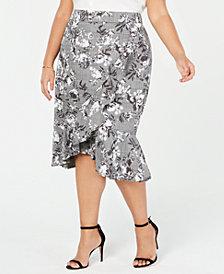 RACHEL Rachel Roy Trendy Plus Size Asymmetrical Ruffled Skirt