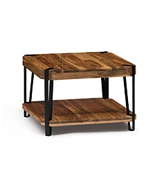 Ryegate Natural Live Edge Solid Wood with Metal Cube Coffee Table