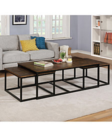 "Arcadia Acacia Wood 54"" Coffee Table With Nesting Tables"