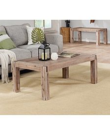 """Woodstock 45"""" Acacia Wood With Metal Inset Coffee Table"""