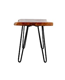 """Hairpin Natural Live Edge Wood With Metal 36"""" Bench"""