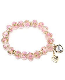 Pink Flower Beaded Stretch Bracelet