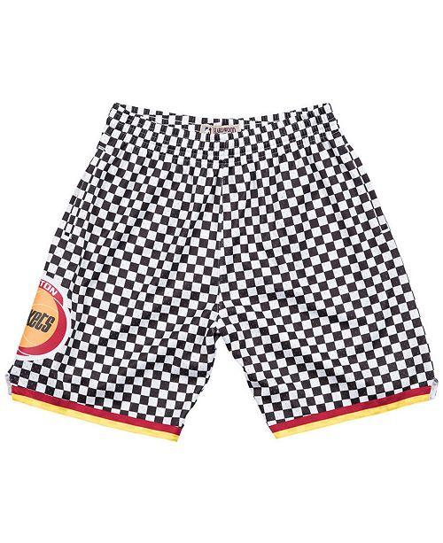 Mitchell & Ness Men's Houston Rockets Checkerboard Swingman Shorts