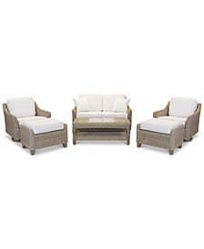 Willough Outdoor 6-Pc. Set (1 Loveseat, 2 Swivel Gliders, 1 Coffee Table & 2 Ottomans), Created for Macy's