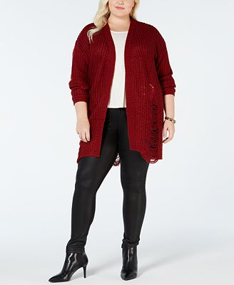 Planet Gold Plus Size Distressed Cardigan Sweater Trendy Plus
