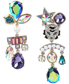 Betsey Johnson Two-Tone Tiger Crystal Stone & Imitation Pearl Cluster Mismatch Earrings
