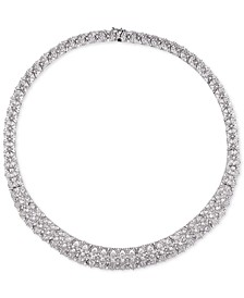 "Cubic Zirconia Cluster 18"" Statement Necklace in Sterling Silver"