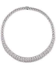 "Tiara Cubic Zirconia Cluster 18"" Statement Necklace in Sterling Silver"