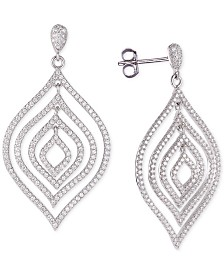 Tiara Cubic Zirconia Orbital Drop Earrings in Sterling Silver