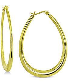 Giani Bernini Graduated Oval Hoop Earrings in 18k Gold-Plated Sterling Silver, Created for Macy's