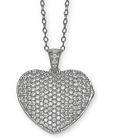 "Giani Bernini Cubic Zirconia Pavé Heart Locket 18"" Pendant Necklace in Sterling Silver, Created for Macy's"