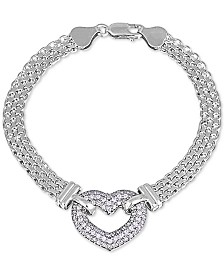 Giani Bernini Cubic Zirconia Heart Bismark Link Bracelet in Sterling Silver, Created for Macy's