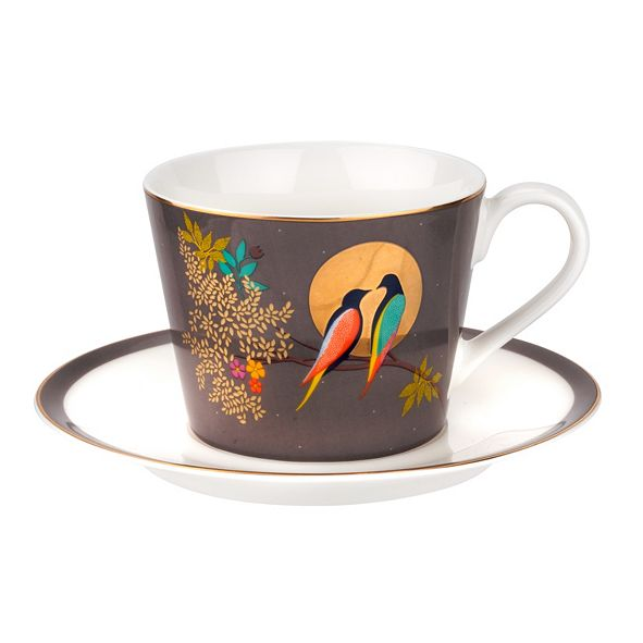 Portmeirion Sara Miller Teacup & Saucer Dark Grey