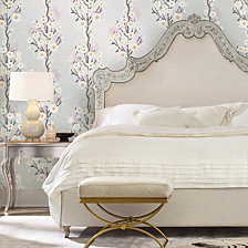 Cynthia Rowley for Tempaper Cherry Blossoms Silver Self-Adhesive Wallpaper