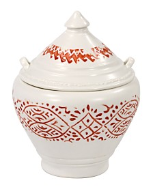 John Robshaw Lakki Stamped Porcelain Covered Jar