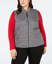 Karen Scott Plus Size Houndstooth Quilted Vest, Created for Macy's
