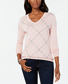 Tommy Hilfiger Cotton Diagonal Plaid Sweater, Created for Macy's