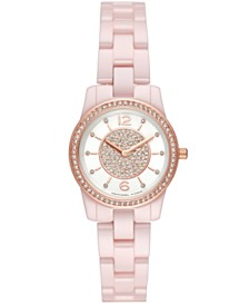Michael Kors Women's Mini Runway Pink Stainless Steel Bracelet Watch 28mm