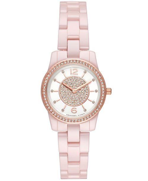 Michael Kors Women's Mini Runway Pink Stainless Steel Bracelet Watch 28mm