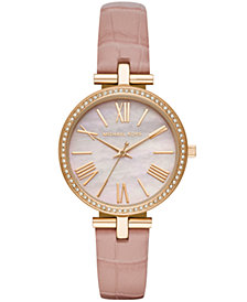 Michael Kors Women's Maci Pink Leather Strap Watch 34mm
