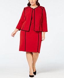 Kasper Plus Size Piped Jacket & Dress