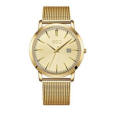 Men's Domed Crystal Gold Tone IP Stainless Steel Watch, Matching Dial