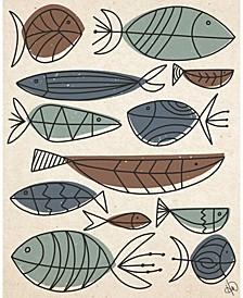 """Mid-Century Retro Doodle Fish 24"""" X 36"""" Acrylic Wall Art Print"""