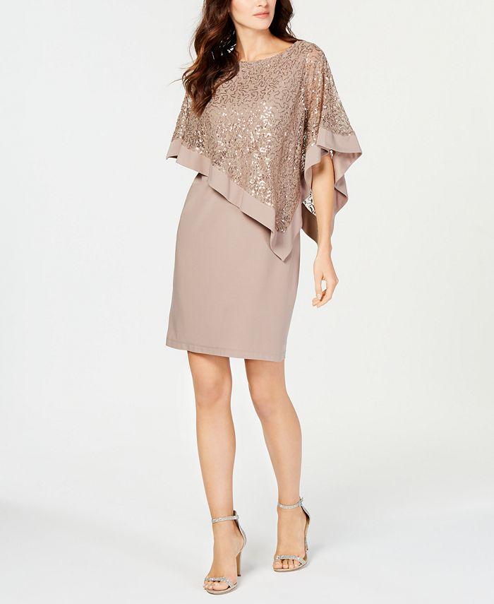 R & M Richards - Sequined Cape Sheath Dress
