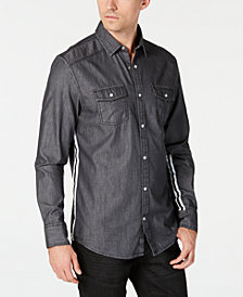 I.N.C. Men's Side Stripe Dark Chambray Shirt, Created for Macy's