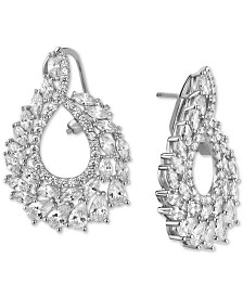 Tiara Cubic Zirconia Swirl Cluster Drop Earrings in Sterling Silver