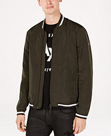 A|X Armani Exchange Men's Contrast Trim Baseball Jacket