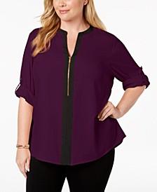 Plus Size Zip-Front Blouse