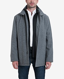 Big & Tall Wool Blend Stand-Collar Bib Car Coat
