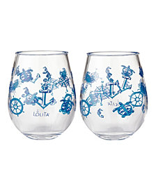 Enesco Lolita Set Sail 2-Pc. Stemless Wine Glass Set