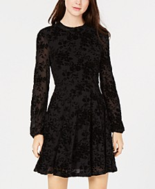 Juniors' Burnout Velvet Fit & Flare Dress, Created for Macy's