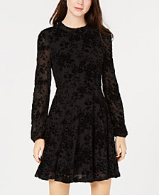American Rag Juniors' Burnout Velvet Fit & Flare Dress, Created for Macy's
