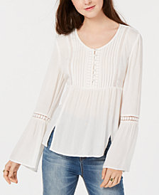 American Rag Juniors' Pintucked Bell-Sleeve Blouse, Created for Macy's