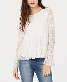 American Rag Juniors' Ruffled Lace Top, Created for Macy's