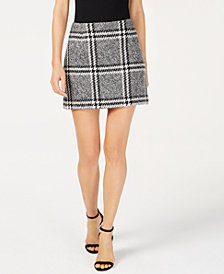 Rachel Zoe Plaid Faux-Leather-Trim Mini Skirt